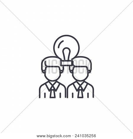 Cooperative Work Line Icon, Vector Illustration. Cooperative Work Linear Concept Sign.