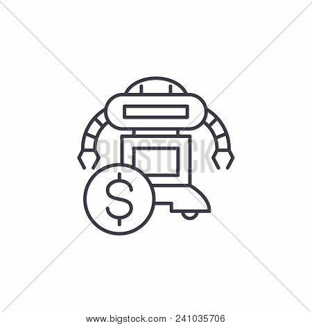 Costs Saving Line Icon, Vector Illustration. Costs Saving Linear Concept Sign.