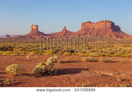 View On Red Rock Formation. Navajo Tribal Park Of Monument Valley, Arizona, Utah, Usa