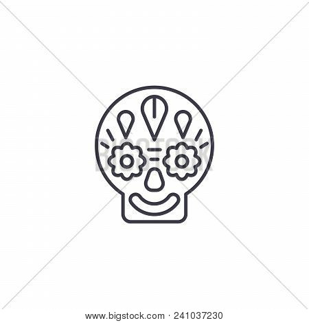 Day Of The Dead Line Icon, Vector Illustration. Day Of The Dead Linear Concept Sign.