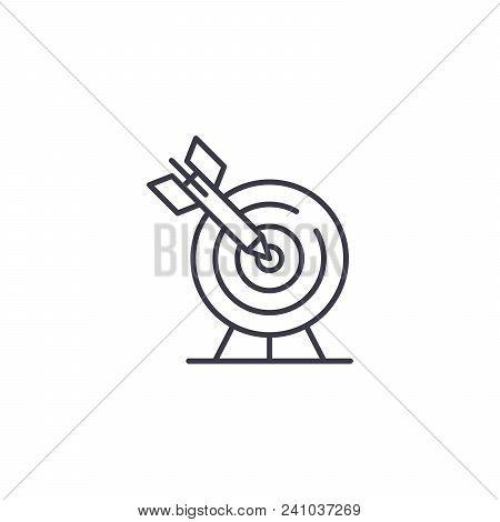 Dead On Target Line Icon, Vector Illustration. Dead On Target Linear Concept Sign.