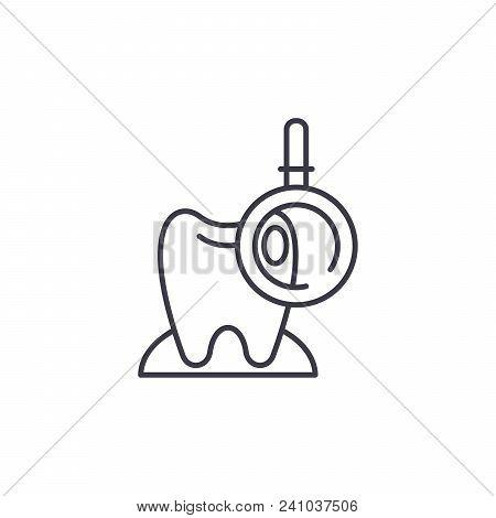 Dental Examination Line Icon, Vector Illustration. Dental Examination Linear Concept Sign.