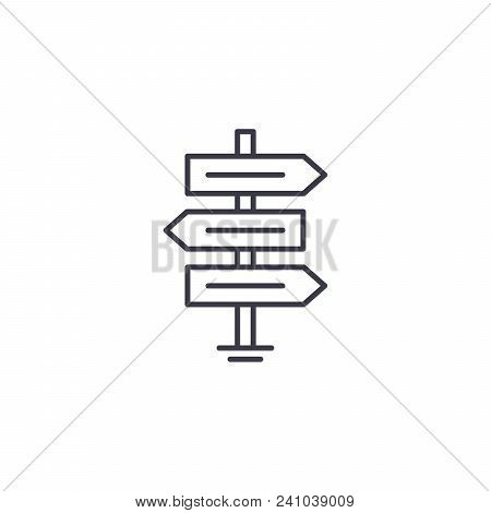 Direction Signs Line Icon, Vector Illustration. Direction Signs Linear Concept Sign.