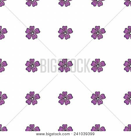 Malva Hand Drawn Seamless Pattern On White Background . Vector Illustration.