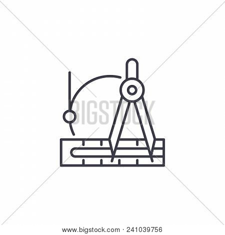 Drafting Instruments Line Icon, Vector Illustration. Drafting Instruments Linear Concept Sign.