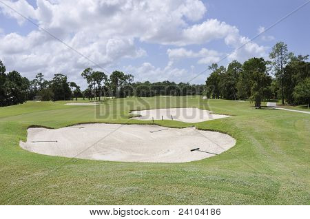 Sand Traps On A Florida Golf Course