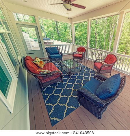 Summer porch on a rural American house