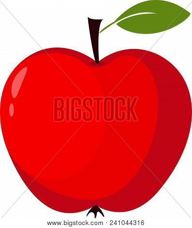 Red Apple - Vector Illustration Apple Icon In Trendy Flat Style Isolated On White Background. Apple