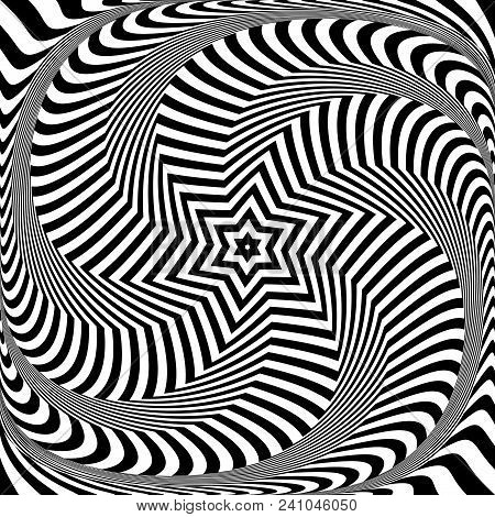 Abstract Optical Art Design. Illusion Of Rotation, Torsion And Twisting Movement. Vector Illustratio