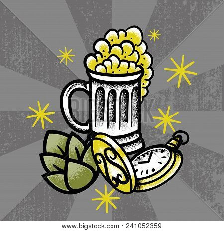 Hipster Elements Old School Tattoo Style Vintage Retro Signboard Big Glass Of Beer With Green Hops F