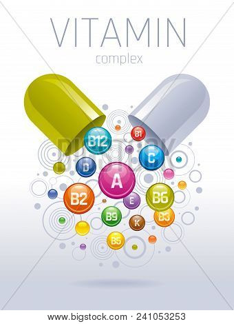 Medical Vitamin, Mineral Background. Multivitamin Complex Of Pill Capsule, Color Vitamins Bubbles Mo