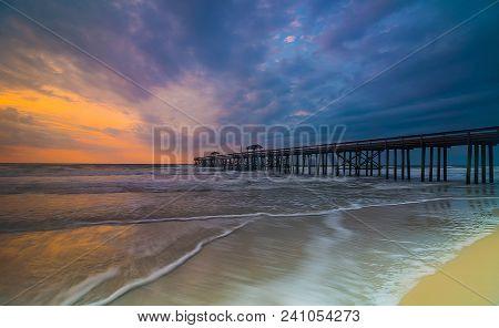 Fresh Start: Sunrise At Jacksonville Beach Pier, Florida
