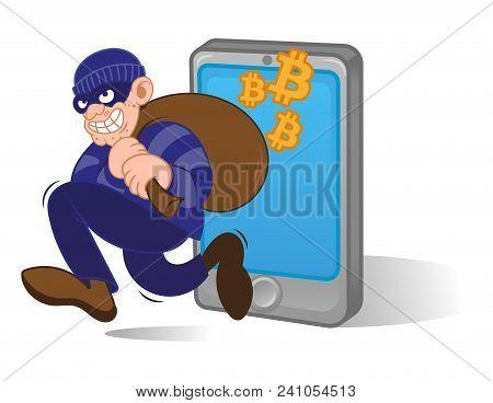 Cartoon Dangerous Criminal Thief Hacker Dressed In Dark Mask Running With Big Bag Stolen Cryptocurre