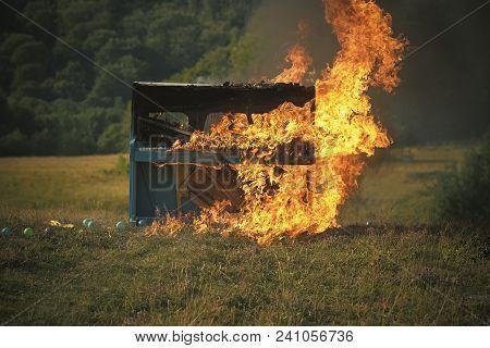 Burning Piano, Musical Style, Grunge Instrument. Burning Piano Instrument