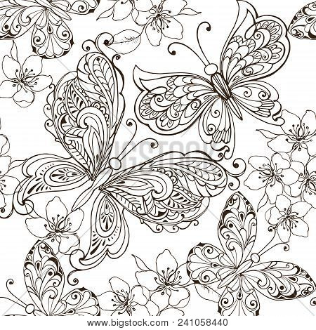 Hand Drawn Flowers And Butterflies For The Anti Stress Coloring Page Floral Seamless Ornament With
