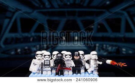 RUSSIAN, April 01, 2018. Lego star wars clone troopers army. Lego minifigures are manufactured by The Lego Group. Kylo Ren and the Storm?roopers Team