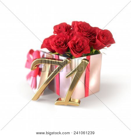 Birthday Concept With Red Roses In Gift Isolated On White Background. 3d Render - Seventy-first Birt