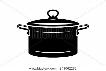 Saucepan For Cook Hot Dishes Icon. Simple Illustration Of Saucepan For Cook Hot Dishes Vector Icon F