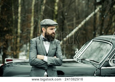 Retro Collection Car And Auto Repair By Mechanic Driver. Travel And Business Trip Or Hitch Hiking. B