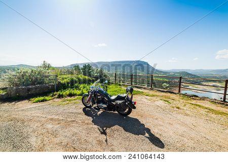 Monteleone Rocca Doria, Ita - February 26, 2017: Kawasaki Vn 800 Parked On The Edge Of A Country Roa