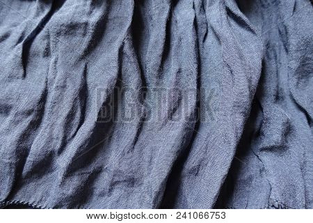Draped Thin Blue Cotton And Polyester Fabric