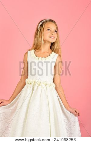 Little girl in fashionable dress, prom. little girl or kid in white wedding dress. poster