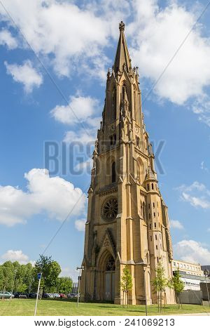 Tower Of The Garrison Church In Metz On The Moselle France.