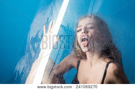 Fashion And Beauty. Shower And Hygiene Spa Treatment. Window With Water Drops Before Girl With Makeu