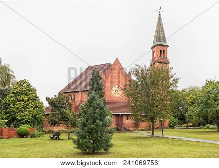 Greytown, South Africa - March 22, 2018: The Historic Dutch Reformed Church, In A Beautiful Garden,