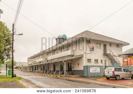 Howick, South Africa - March 23, 2018: A Street Scene, With Businesses And A Hotel, At The Howick Fa