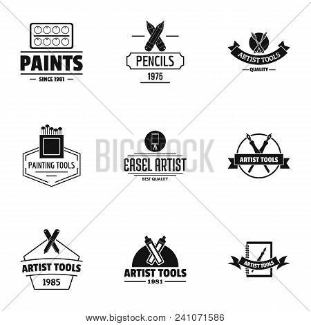 Artist Tool Logo Set. Simple Set Of 9 Artist Tool Vector Logo For Web Isolated On White Background