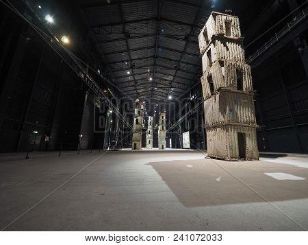 Milan, Italy - Circa April 2018: Pirelli Hangar Bicocca Centre For Contemporary Art Exhibitions With