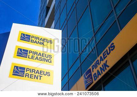 Belgrade, Serbia - April 29, 2018: Logo Of Piraeus Bank On Their Local Headquarters For Serbia. Pira