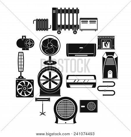 Heating Cooling Air Icons Set. Simple Illustration Of 16 Heating Cooling Air Vector Icons For Web