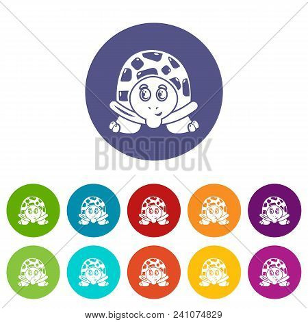 Cheerful Turtle Icon. Simple Illustration Of Cheerful Turtle Vector Icon For Web