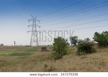 Electrical High Voltage Power Lines At Purulia, West Bengal, India. Electrical Power Is Distributed