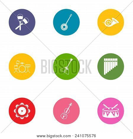 Orchestra Icons Set. Flat Set Of 9 Orchestra Vector Icons For Web Isolated On White Background