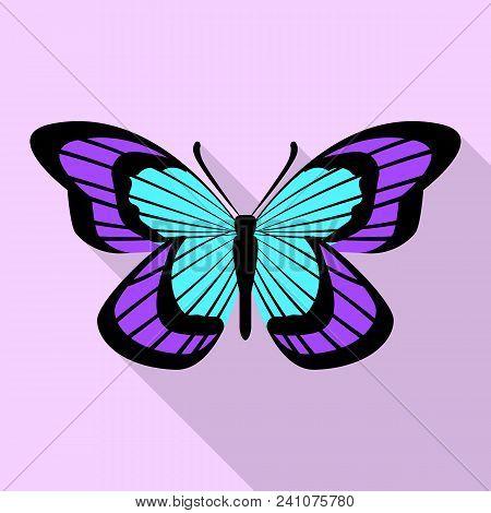 Aqua Purple Butterfly Icon. Flat Illustration Of Aqua Purple Butterfly Vector Icon For Web Design