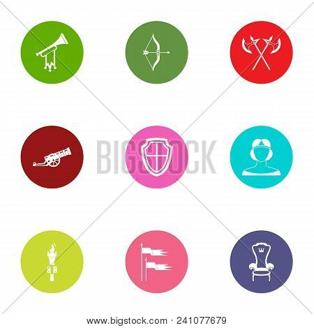 Medieval Period Icons Set. Flat Set Of 9 Medieval Period Vector Icons For Web Isolated On White Back