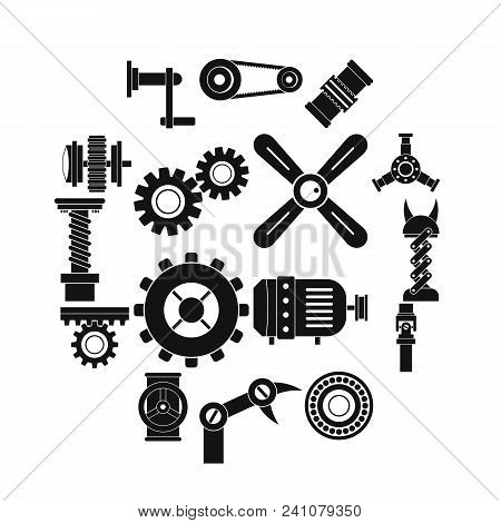 Techno Mechanisms Kit Icons Set. Simple Illustration Of 16 Techno Mechanisms Kit Vector Icons For We