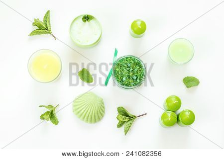 Spa Products. Flat Lay Green Color Concept.