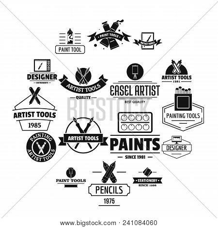 Artist Tool Logo Icons Set. Simple Illustration Of 16 Artist Tool Logo Vector Icons For Web