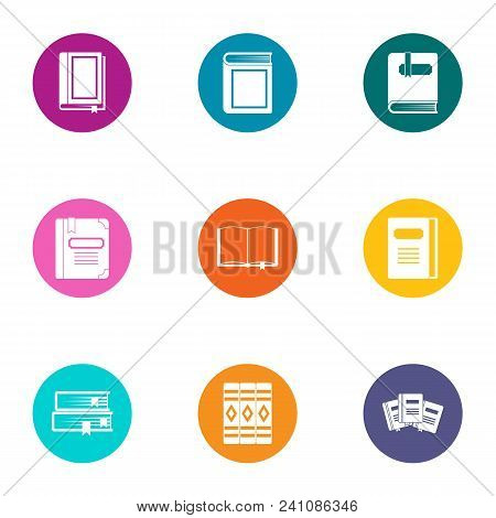 Booklet Icons Set. Flat Set Of 9 Booklet Vector Icons For Web Isolated On White Background