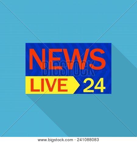 Live News 24 Logo. Flat Illustration Of Live News 24 Vector Logo For Web Design