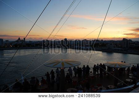 Departure Of A Cruise Liner, Sunset, Skyline Of Cadiz, Spain. Cadiz Is The Capital Of The Province O