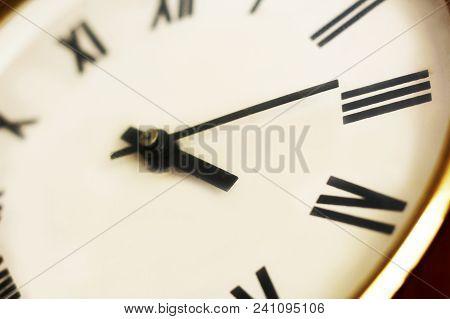 Closeup Of Classical Clock, Roman Numerals Clock