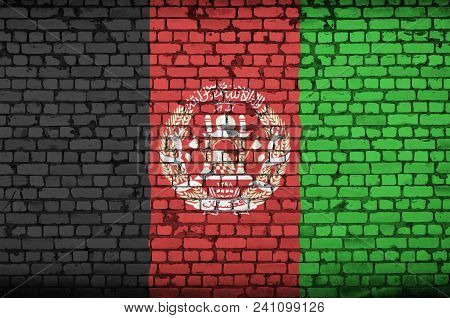 Afghanistan Flag Is Painted Onto An Old Brick Wall