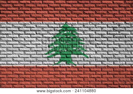 Lebanon Flag Is Painted Onto An Old Brick Wall