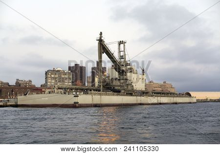Bronx, New York - March 21: Bulk Non Propelled Cement Barge Matilde Docked..  Taken April 7, 2018 In