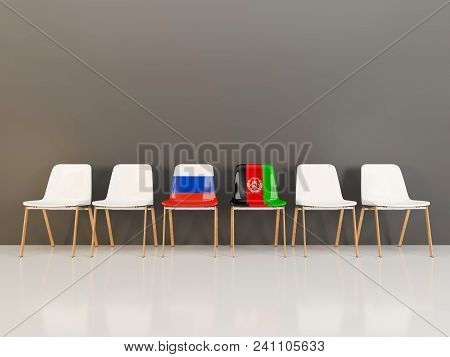 Chairs With Flag Of Russia And Afghanistan